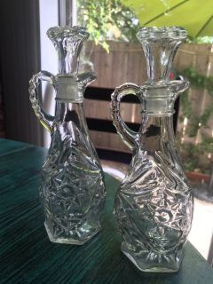 Glass oil and vinegar bottles