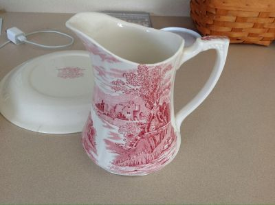 Vintage pitcher and plate.