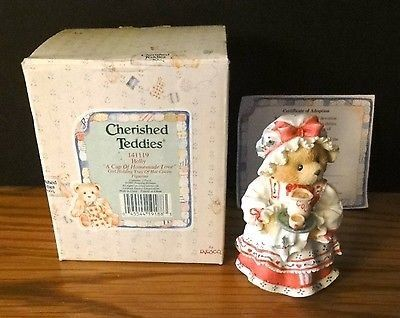 Enesco Cherished Teddies Figurine Holly A Cup of Homemade Love