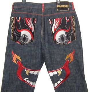 RARE Parish Embellished Dragon Face Button Fly Jeans Mens Tag 40 Measures 38 x 33