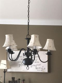 Hanging light with shades