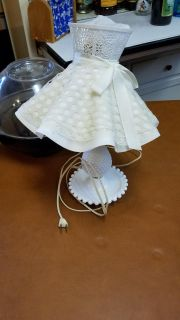 Antique milkglass lamp with shade