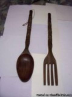 Vintage Hand Carved Giant Wooden Spoon and Fork Wall Art