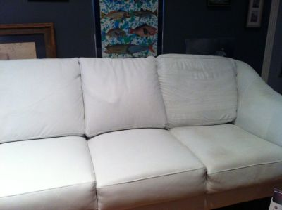 Another Reduction! White Leather Sofa