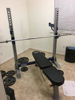 Bench + bar + weights