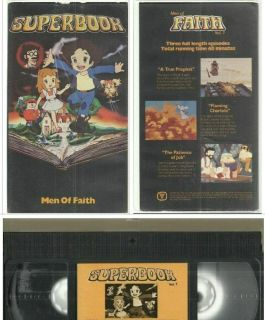 vhs Superbook MEN OF FAITH True Prophet Flamimg Chariots Patienve of Job BIBLE tested and plays well corner wear on clamshell