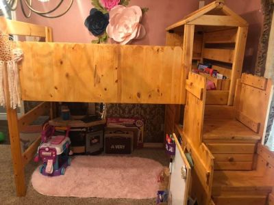 Wooden fort loft bunk bed