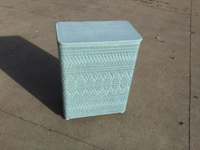Antique Wicker Clothes Hamper- freshly chalk painted SerenityBlue $30