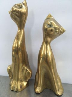 Pair of 8 x 3 inch brass cats