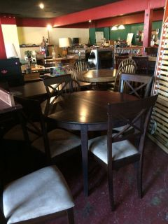 Solid Wood Dinette Table w/Leaf and 6 Chairs