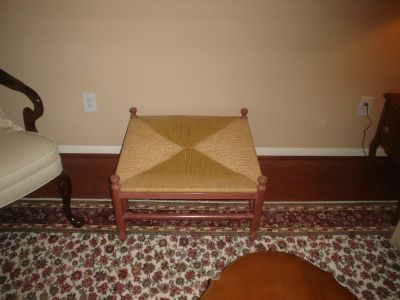 Hand carved mahogany footstool or ottoman