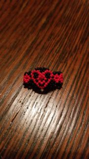 Beaded heart ring