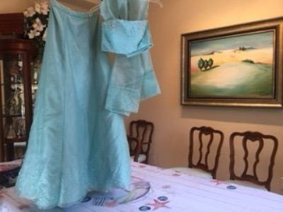 REDUCED! Beautiful Sea Mist Green 2 piece with wrap cocktail/prom dress