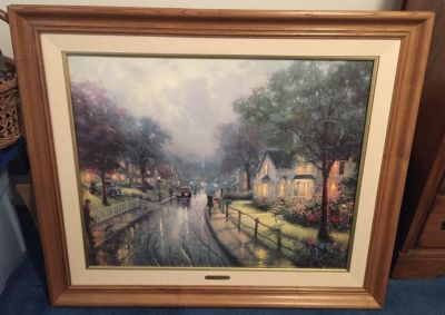 Retired Thomas Kinkade Hometown Memories 1 On Canvas, Numbered, Signed, Framed, COA