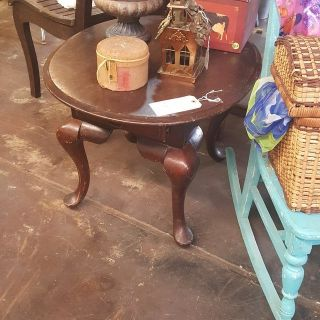 Antique Solid Wood Side Table with Drawer