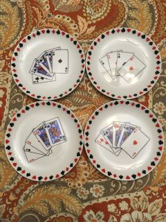 Playing Cards Dishes 12 Piece Like New