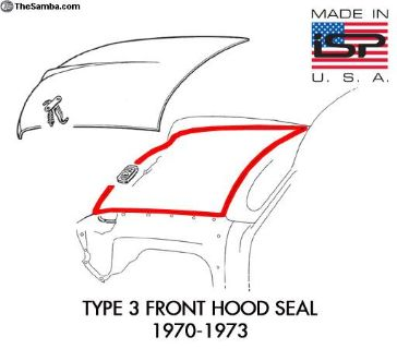 New Type 3 Front Hood Seal 1970-1973