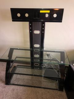 TV Bracket Stand with Glass Shelves