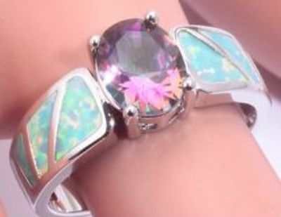 New - Green Fire Opal & Rainbow Topaz Ring - Size 8