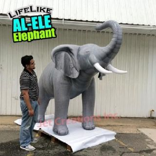 7' Tall Inflatable Lifelike Elephant Realistic Animal Safari Negative IONS