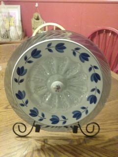 Beautiful blue tinted glass 12 in all drill screwed together Garden plate