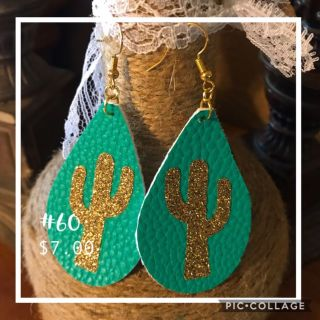 Gold cactus and turquoise earrings