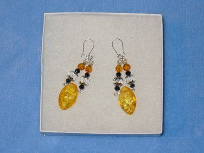 REDUCED!!!!Sterling silver amber,swarovski crystal earrings