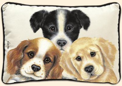 """Peeping Puppies Decorative Puppy Pillow Size: 16"""" x 12"""" x 4"""" Art by Sue Hall Brand New"""