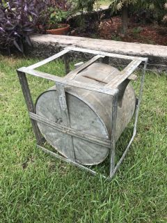 Antique 1895 Rocker Kerosene Oil Can, Pivoting Rotating Galvanized, 5 Gal Brown Can Co. Works Great.