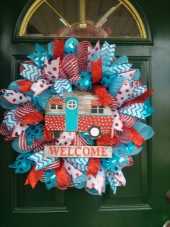 Welcome Camper Mesh Wreath