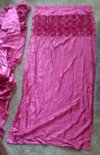 4 pink curtain panels with roses top