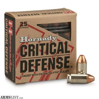 For Sale: Hornady Critical Defense 380 Auto 90 GR FTX 25 Cartridges