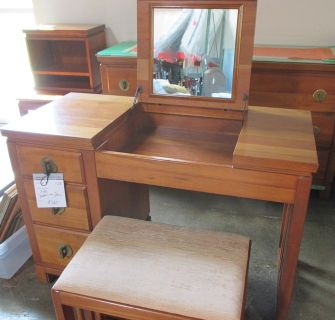 RARE Crawford Mid Century - Solid Wood - Vanity and Bench