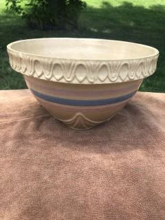 Vintage 1935 Nelson McCoy Pottery Yellow Ware Bowl Pink & Blue Banded