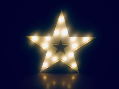 Battery operated gold tone star