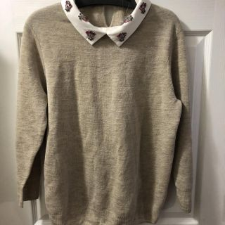 New J Crew Cotton Knit Sweater Beaded Collar. Size Large. Retail $148. Porch Pick up Available. Staples Mill at 295.