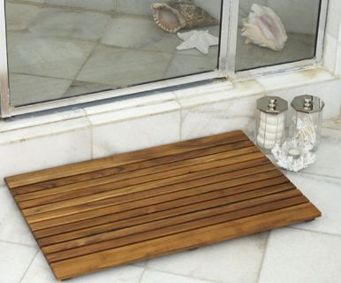 Shower Wood Floor Mat - Square African Teak Wood Mat