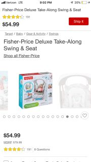 New (Only Opened To Put Together) Fisher Price Take Along Swing and Seat Adjustable For Small Growing Babies