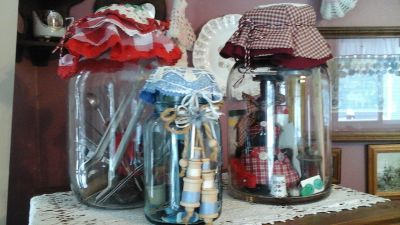 Antique Pickle Jars& Blue Ball Mason Jars w/ Sewing Related &Kitchen Utensils