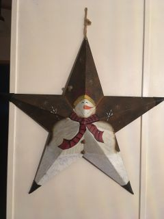 Painted metal snowman star wall decoration
