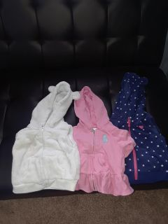 3 baby girls coats- 6 month size