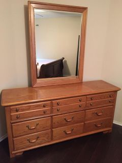 Solid Wood 9 Drawer Dresser and Mirror