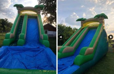 Mule town inflatables palm tree themed slide