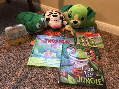 Bundle of books and stuffed animals