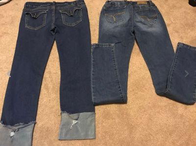 Lots 2 Pairs Girls Denim Blue Jeans- Excellent Pre owned Condition Both Size 14 CUTE