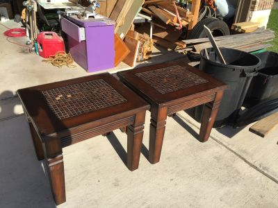 Pair of Wood Tile Top End Tables ** Pick Up is in New Braunfels **