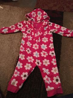 Carters 12m pink flower print fleece outfit w/hood - ppu (near old chemstrand & 29) or PU @ the Marcus Pointe Thrift Store (on W st)