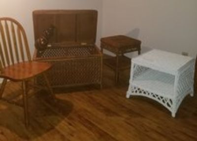 Wicker Chest, Table, End Table, Wooden Vase, Single Wooden Chair