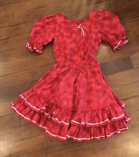 Vintage Square Dance Skirt Set Handmade Size Small red