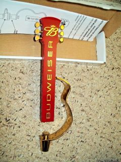 "Budweiser Bud Music Guitar Metal/Plastic Figural Beer Tap Handle 10.5"" NOS Min"